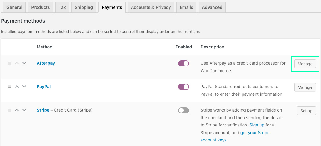 activate-afterpay-woocommerce-wordpress-manage-plugins-springfield-digital